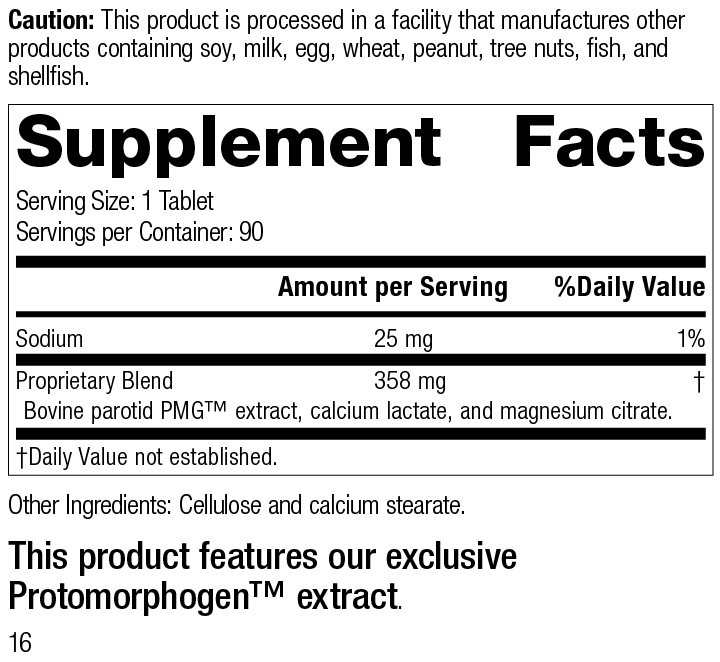 Nutrition Label for Parotid PMG®