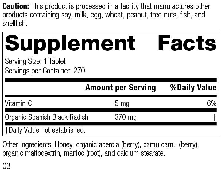 Spanish Black Radish, 270 Tablets, Rev 03 Supplement Label