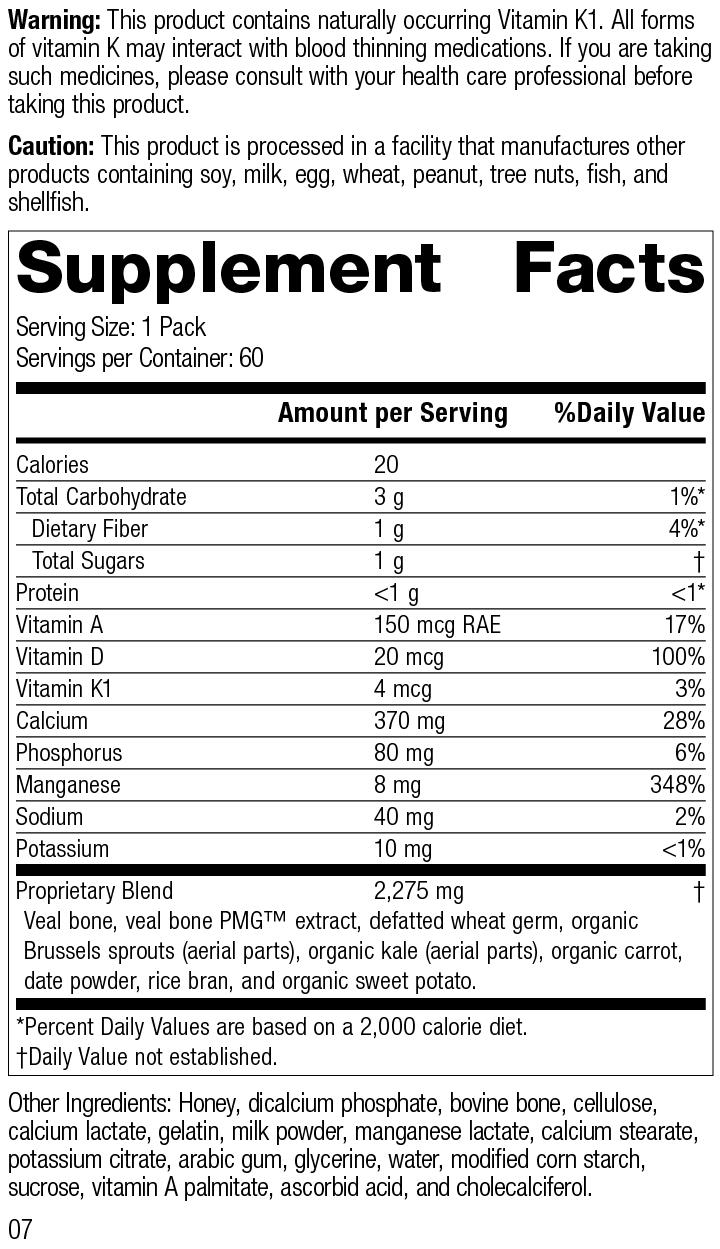 Daily Fundamentals - Bone Health, Rev 07 Supplement Facts