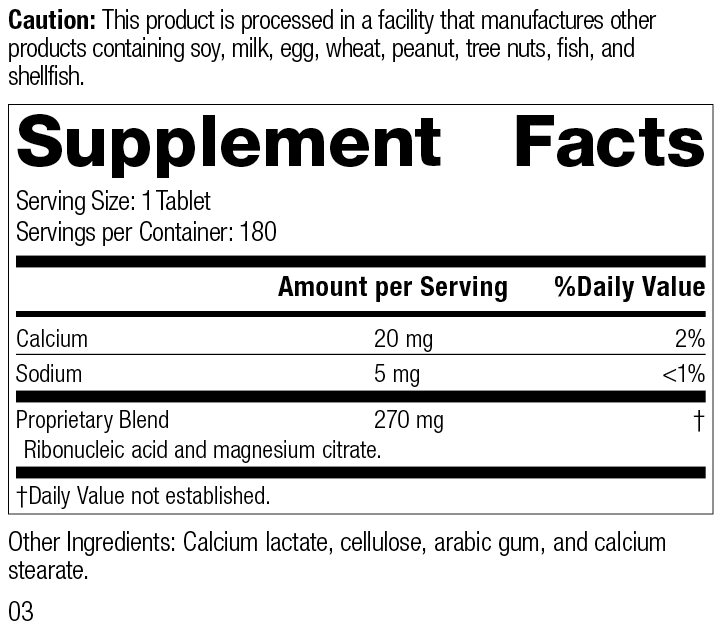 Ribonucleic Acid (RNA), 180 Tablets, Rev 03 Supplement Facts